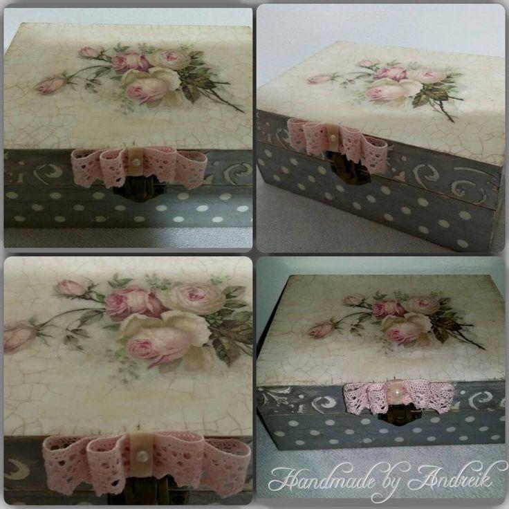 Pink roses decoupage box