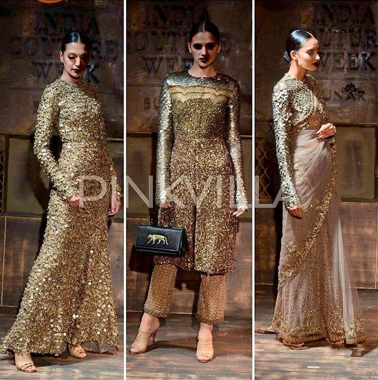 Gold 3 in 1 Indian Dresses | For AICW 2015 | By Sabyasashi Murherjee | PinkVilla Pic