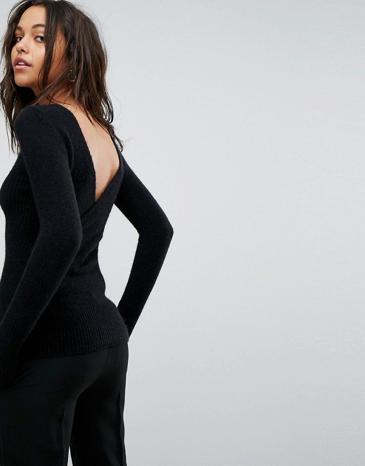 ALLSAINTS FARIA SWEATER WITH CROSS BACK - BLACK. #allsaints #cloth #