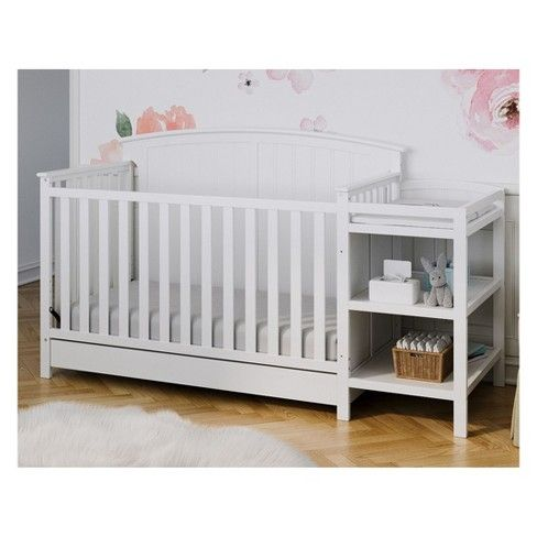 Storkcraft Steveston 4 In 1 Convertible Crib And Changer With Drawer Convertible Crib Cribs Storkcraft