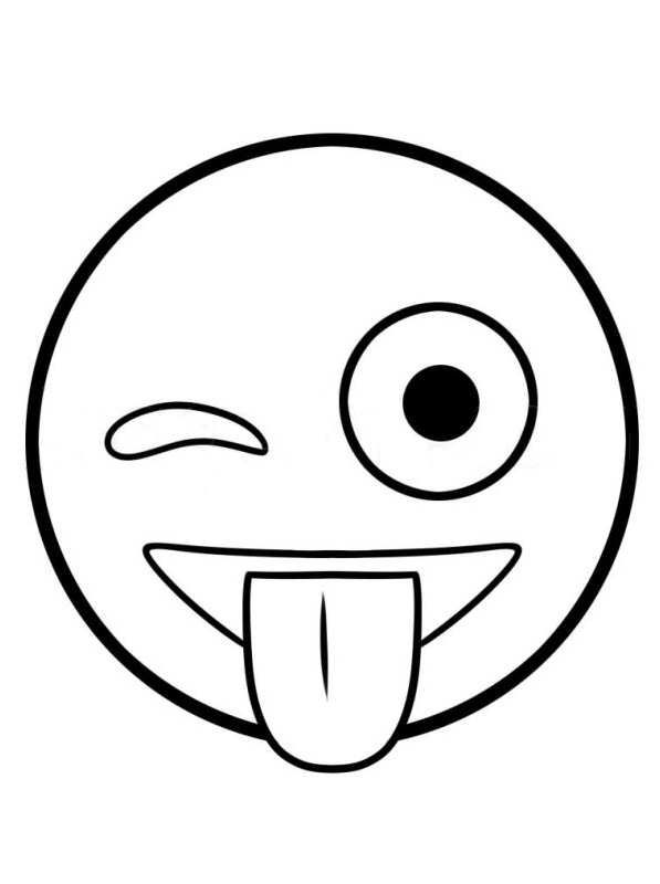 Ausmalbilder Emoji Wink 394852948535 Einfache niedliche