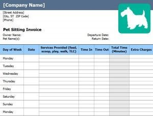 Free Pet Sitting Invoice Starting A Pet Sitting Business Forms