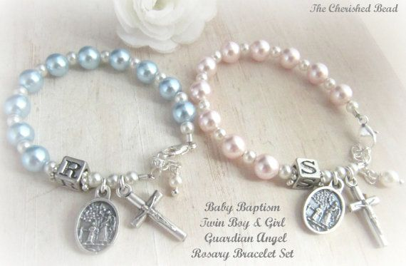 Baby Girl & Boy Baptism Guardian Angel Rosary Bracelets - 2 Bracelets included in Set