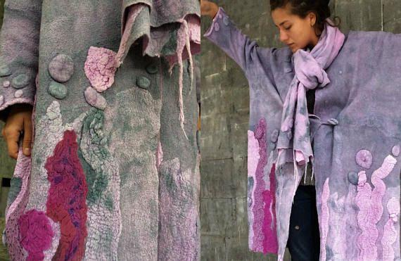 Double-sided gray-purple  coat Felted coat  Jacket Hand