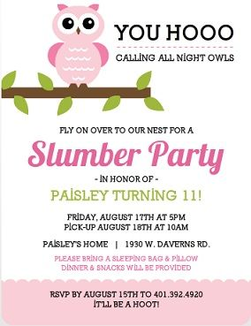 owl sleep over ideas | Whimsical Pink Owl Slumber Party Invitation