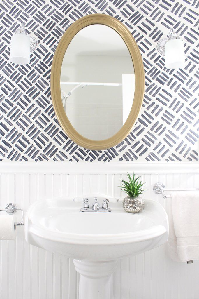 8 Easy Ways To Update Your Bathroom In 1 Weekend Small Bathroom Makeover Wallpaper Accent Wall Bathroom Powder Room Wallpaper