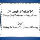 This PDF file corresponds with the 3rd Grade NYS, Expeditionary Learning ELA Module 1A, Unit 1, Lessons 1-11. The attached file was created to supp...
