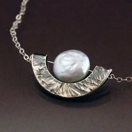 Handmade Jewelry White Pearl and Sterling Silver Geometric Necklace