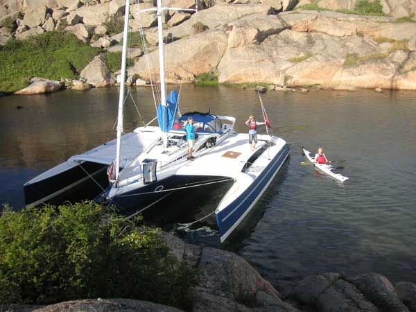 Family cruising on Dragonfly 35 trimaran  Huge deck space allows
