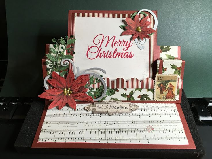 Swing easel card, done with papers from kaisercraft letters to santa. Bit fiddly but worth the effort, lots of tutorials around