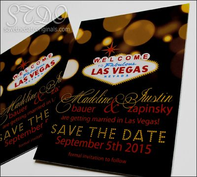 Las Vegas wedding save the date design idea at 3x4 inches. #wedding