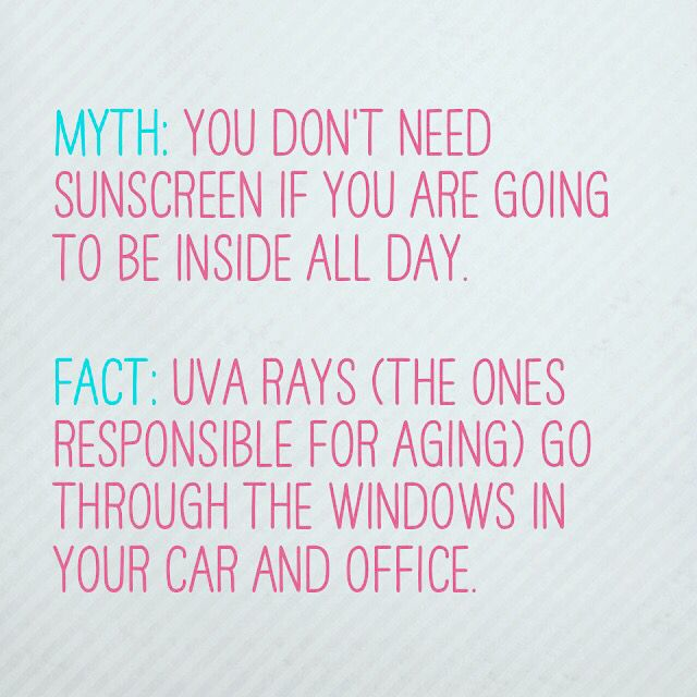 Sunscreen. Every single day! The left side of your face is constantly exposed to sunlight when driving. I always drive with the sun shade down. Also, think about the way your desk is situated. Are you near a window? Does one side of your face get sunlight all day long? Move your computer!  #sunscreen #antiaging #fact #myth #skincare #dallas #esthetician #entrepreneur #triathlon #athlete