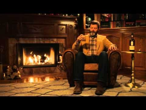 Nick Offerman's Yule Log: Let's Watch Nick Offerman Silently Drink Whisky By A Fireplace For 45 Minutes