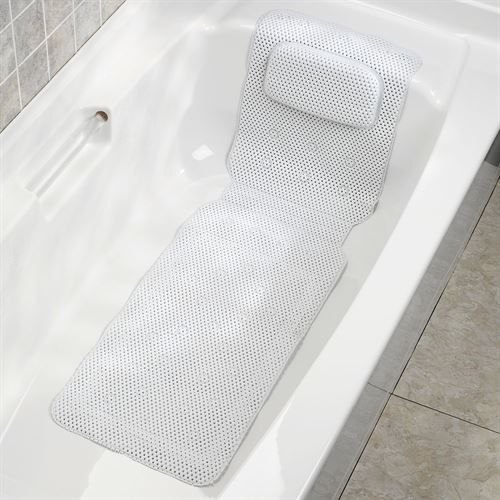 Deluxe Foam Bathtub Mat with Spa Pillow White 50 x 15