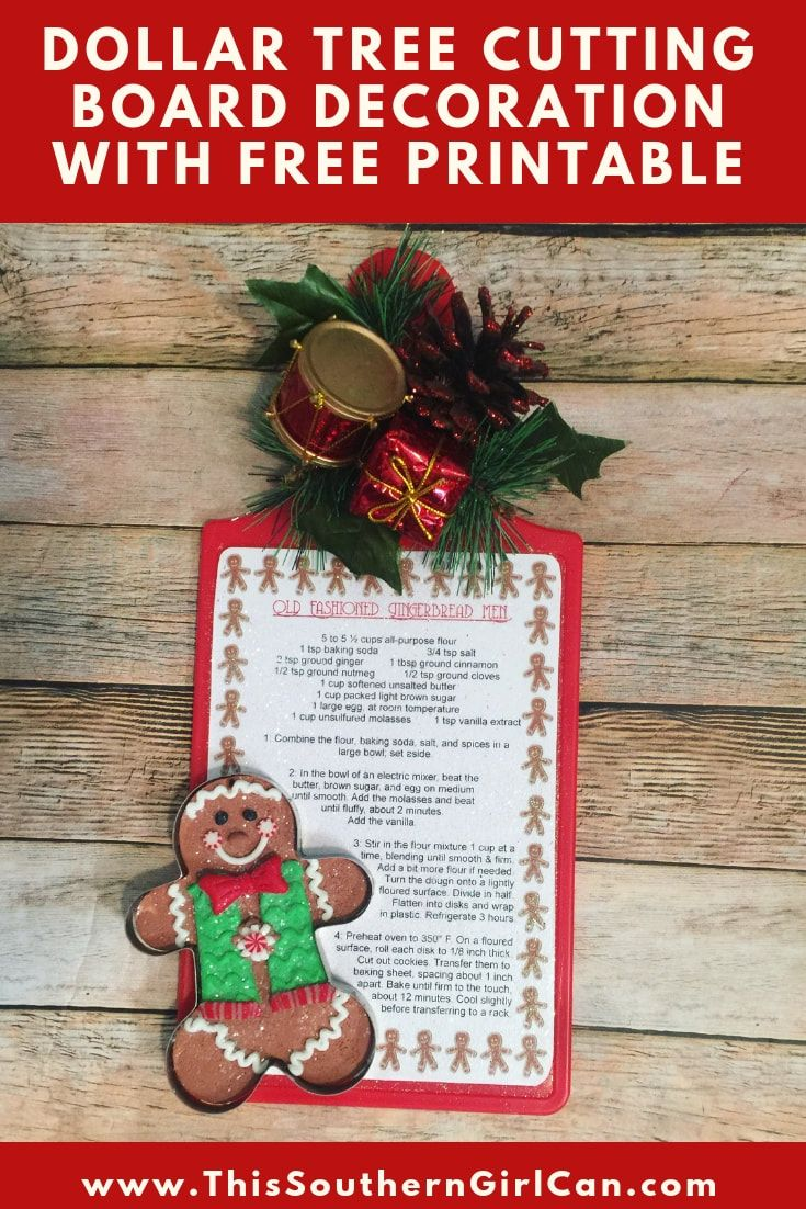 Dollar Tree Cutting Board Christmas Decoration Wit…