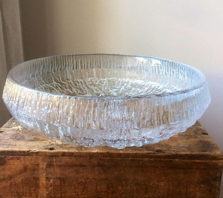 Large/Tapio Wirkkala/Iittala/Finland/Seita design/1976/Ice glass/finnish design/midcentury modern/bowl by WifinpoofVintage on Etsy