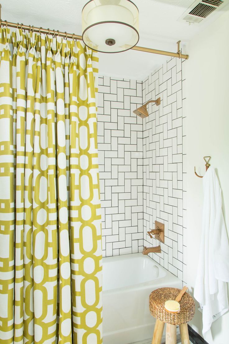 Ceiling mount curtains quotes - Dayka Robinson Designs Master Bathroom Project Herringbone Subway Tile Charcoal Grout Brizo Fixtures