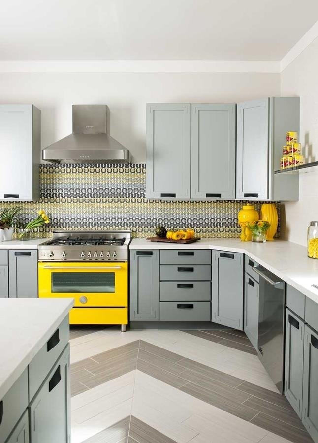 Yellow Grey Kitchen Ideas Part - 45: Love This Kitchen, Floor, Yellow Stove, Blue/gray On Cabinets.