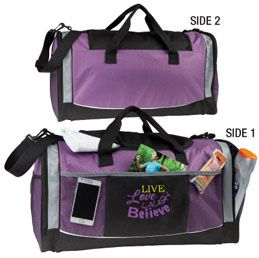 B459PL: The Reliable  600D Polyester sports and travel bag  Features large main compartment andzippered side pockets  Functional Velcro closing front pocket  Available in Black, Red, Royal Blue, Navy, Orange, Purple and Lime Green