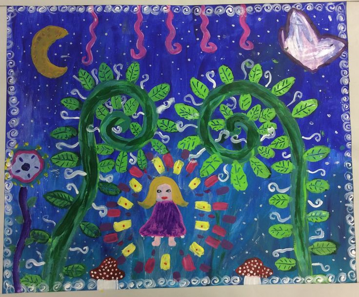 A lovely large painting inspired by Mirka Mora created by Sienna A in Year 6 Room 34.