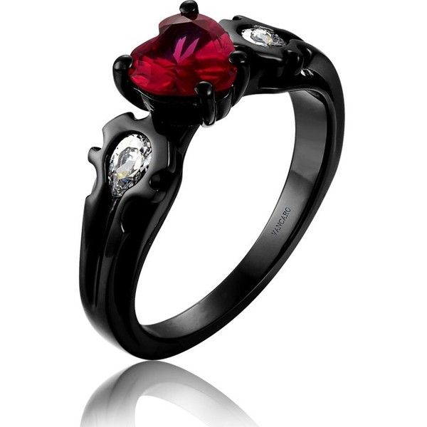 Unique Game Theme Design Black Ring with Heart Cut Synthetic Ruby... ($120) ❤ liked on Polyvore featuring jewelry, rings, heart jewelry, heart ring, fake engagement rings, imitation rings and fake rings