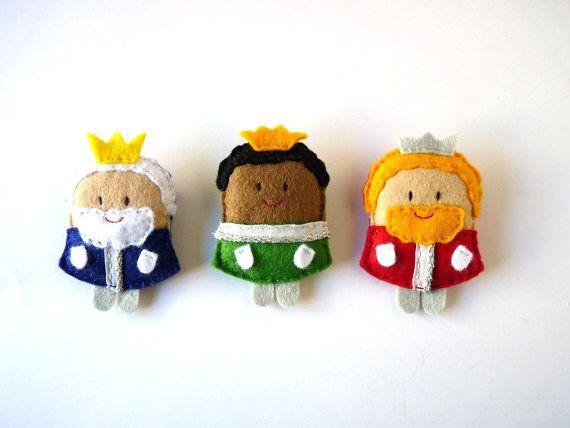 Los Reyes Magos set navideño de broches de fieltro por ovejitabe, €20.00