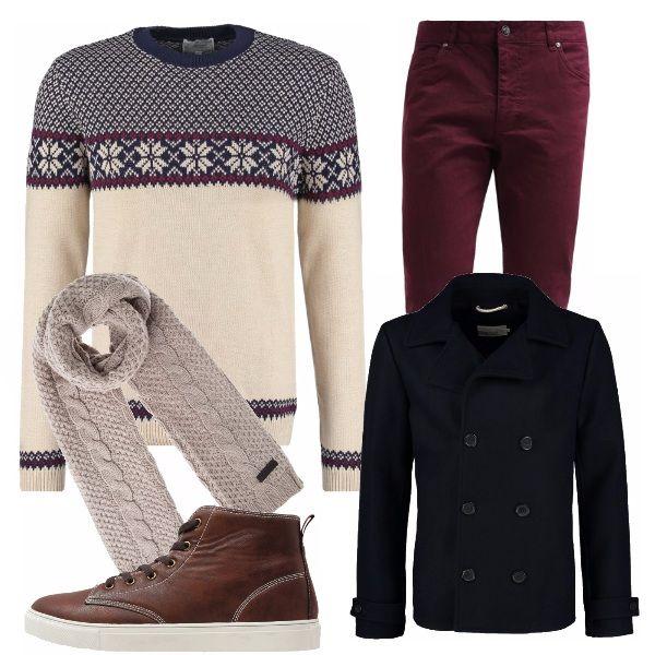 Il maglioncino fair isle evoca la magia della neve anche in città.Abbinato a jeans bordeaux, caban blu navy, stringate color cuoio e sciarpa beige. Casual e adatto al tempo libero o un weekend di vacanza in giro per mercatini di Natale.