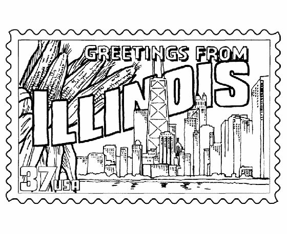 Illinois State Stamp Coloring Page
