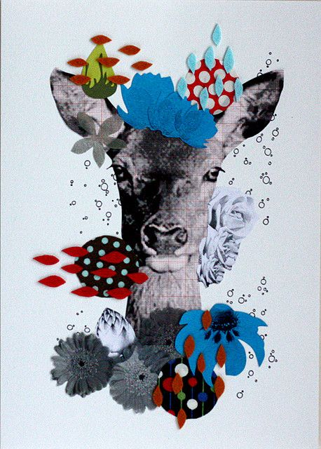 Deer: Inspiration for DIY collage postcards. #craft #poastcards #DIY #deer #colour