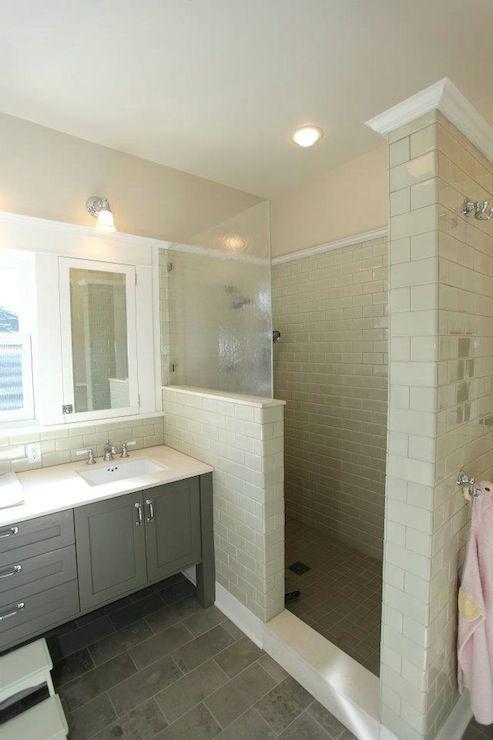 tiled bathroom walk in shower pictures | Walk-In Shower- JAS Design Build -tile bathroom, gray tile floor, gray ...