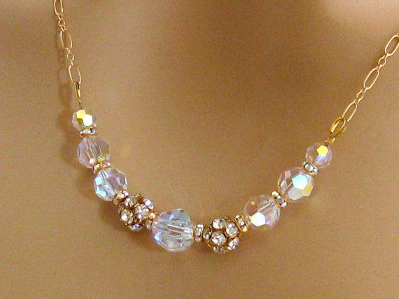 Oro Rhinestone collar nupcial, madre de collar de diamantes de imitación de la joyería de la novia, de Dama de honor de diamantes de imitación boda joyería de baile