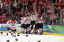 Team Canada winning a gold medal in men's hockey at the 2010 winter Olympics in Vancouver