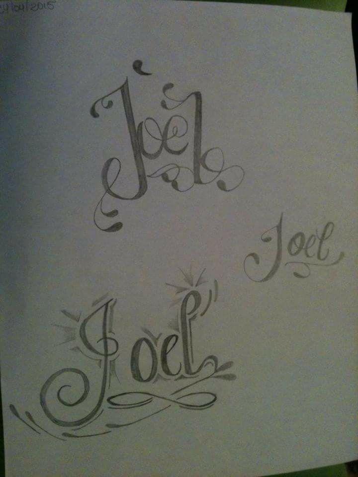 Dibujo Hecho A L 225 Piz Tatuaje Con El Nombre De Joel Dibujos Tatuajes Dibujos Hechos A