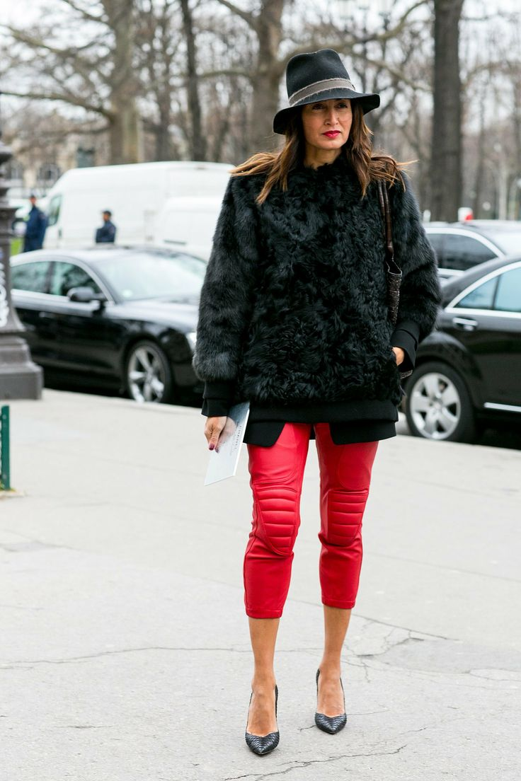 Red leather pants at Couture Fashion Week