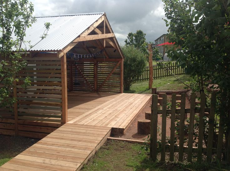 The planked Larch deck in front of the stage is made from sustainable timber and is non-slip.