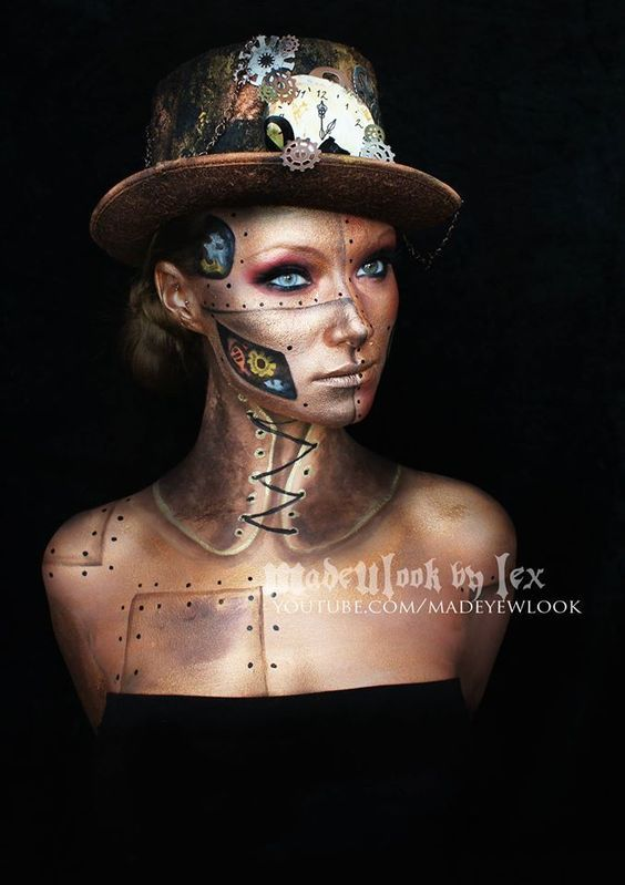 Steampunk Makeup Guide: Special FX Gold Robot YouTube Video Tutorial - For costume tutorials, clothing guide, fashion inspiration photo gallery, calendar of Steampunk events, & more, visit SteampunkFashionGuide.com