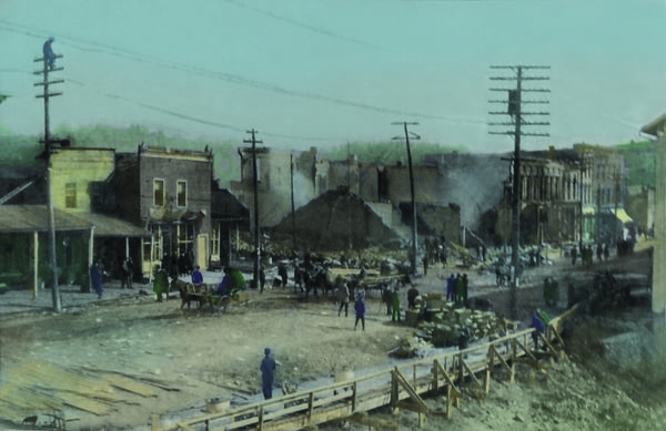 A colorized version of the 1905 Lowell, Michigan Fire