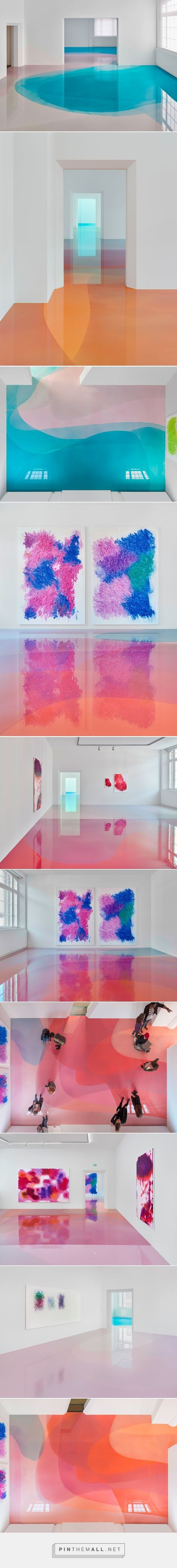 peter zimmermann floods freiburg museum with glossy pools of resin - created via https://pinthemall.net