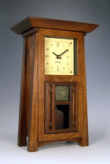 Craftsman-style clocks. Clocks in The Madison Collection are the most popular of the pendulum mantle clocks primarily because of their versatility.  Their size gives them a wider range of placement options.  They are similar in design as the Trenton clocks but are smaller. The Madisons are very popular as gifts for anniversaries and weddings.  $575 plus shipping.