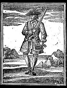 """Jack Rackham, commonly known as Calico Jack, was an English pirate captain operating in the Bahamas during the early 18th century. His nickname was derived from the calico clothing he wore.  Active towards the end of the """"golden age of piracy""""  Rackham is most remembered for two things: the design of his Jolly Roger flag, a skull with crossed swords, which contributed to the popularization of the design, and for having two female crew members (Mary Read and Rackham's lover Anne Bonny)."""