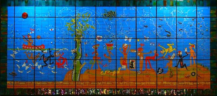 Verbo América obra de técnica mixta creda en 1996. Roberto Matta la donó al Gobierno chileno, con el objetivo que la viera un amplio número de personas. Hoy está expuesta en la estación del Metro Quinta Normal en Santiago, Chile.