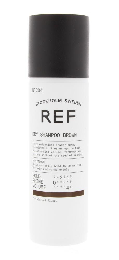 REF Styling Dry Shampoo Brown N204 Droogshampoo Hold 2 - Shine 0 - Volume 4 220ml  Description: REF Dry Shampoo Brown N204 Hold 2 - Shine 0 - Volume 4.Een droge gewichtloze poederspray om het haar op te frissen en vettigheid tegen te gaan. De droogshampoo is te gebruiken voor gekleurd haar met kleurhoogte 5.0 tot 7.0. Geeft volume stevigheid en textuur aan het haar.Gebruik: Schudden voor gebruik. Houd 15-20cm afstand van het haar en spray gelijkmatig op droog haar.  Price: 19.90  Meer…