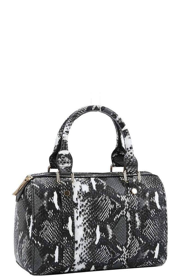 Photo of Boston bag with python pattern and long strap – Handbags – #BostonBag #Ha …