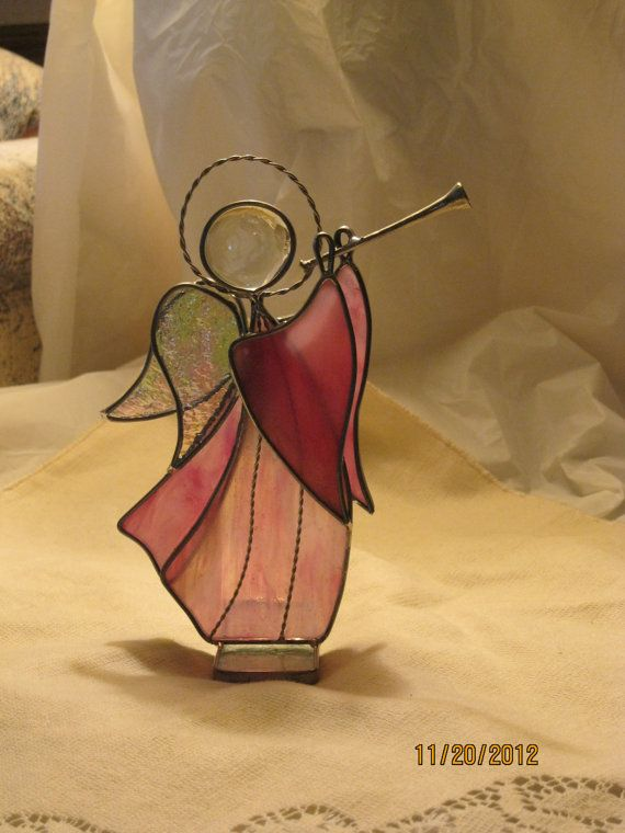 Stained Glass Angel with Horn  Item 91018 by GlassArtbyCharolette, $25.00