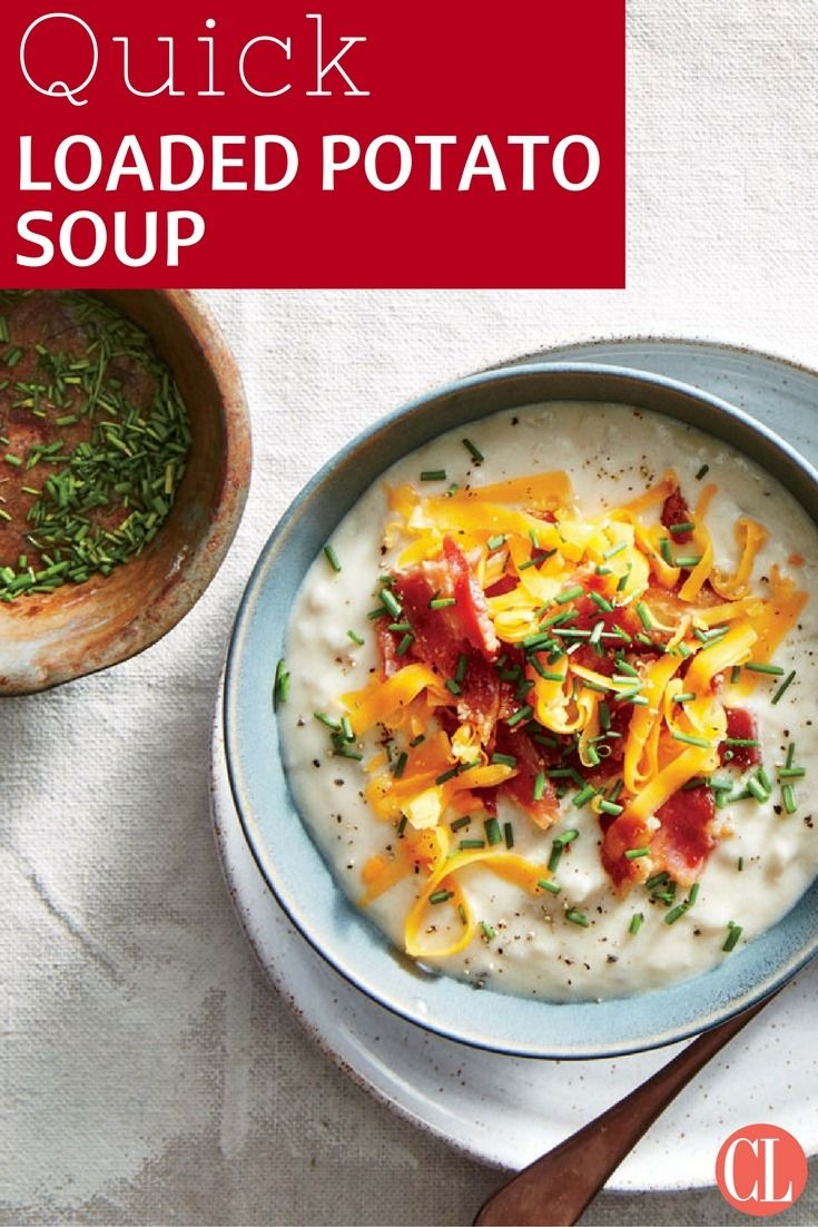 This lighter version of the beloved soup gives you more flavor, less glop, and full hearty satisfaction. With one simple extra step, the standard mashed potato process leads to a creamy soup adorned with all the great baked potato toppings. | Cooking Light