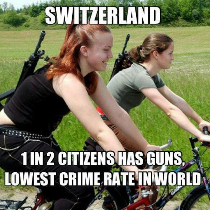 Not sure if it's true;but, I was told that every Swiss citizen must serve in the military and must have a fire weapon in their homes.  After WWI and WWII, could you blame them?
