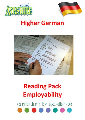 "CfE Higher German Reading Pack Employability  ""Lesson on World Languages""  ""high school"""