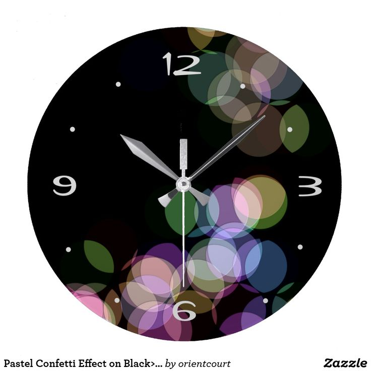 Pastel Confetti Effect on Black>  Wall Clock