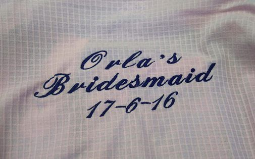 Another set of Beautiful Dressing Gowns for a Bridal Party Embroidered!   We have gowns and thread in a range of colours, and also offer a choice of font to completely personalise the experience - not to mention the best prices around!