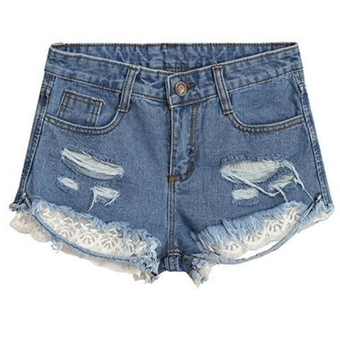 Cupshe Baby's On Fire Lace Denim Shorts